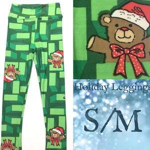 LuLaRoe KIDS S/M Holiday Leggings Teddy Bear